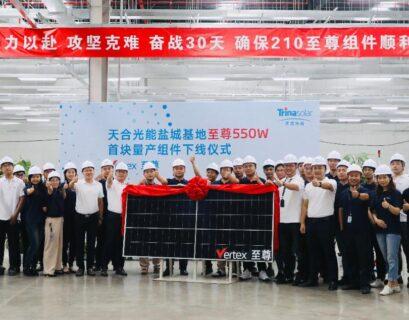 Trina Solar arranca la producción masiva de Vertex de 550W