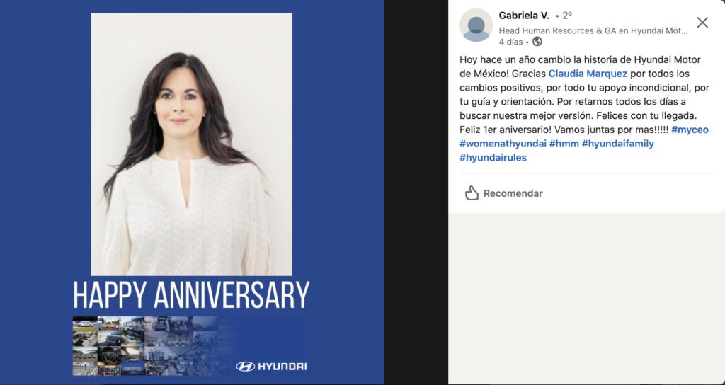 Así celebró Hyundai el aniversario de su directora.